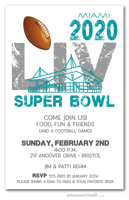 Miami Stadium Super Bowl LIV Party Invitations