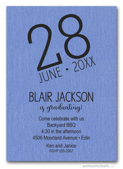 Modern Date Shimmery Blue Graduation Party Invitations