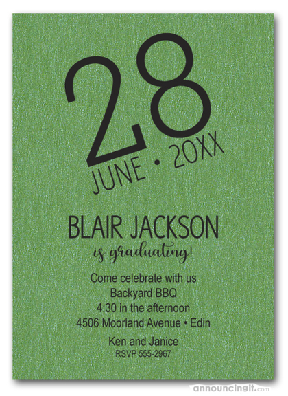 Modern Date Shimmery Green Graduation Party Invitations