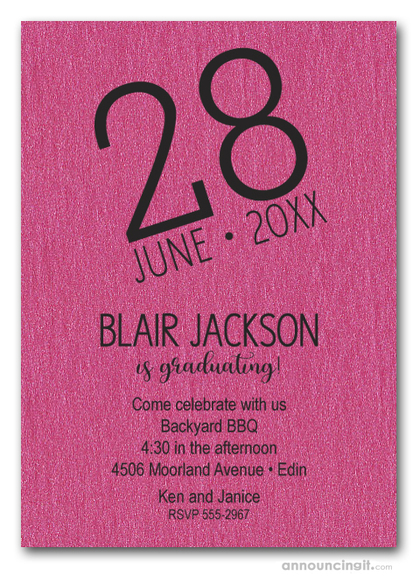 Modern Date Shimmery Hot Pink Graduation Party Invitations