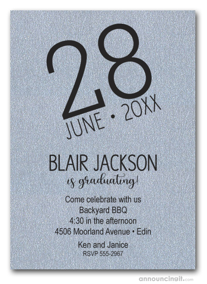 Modern Date Shimmery Silver Graduation Party Invitations