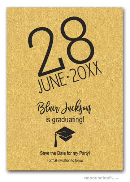 Shimmery Gold Modern Graduation Save the Date Cards