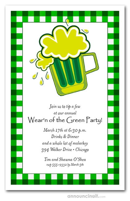 Green Beer on Plaid St. Patrick's Invitations