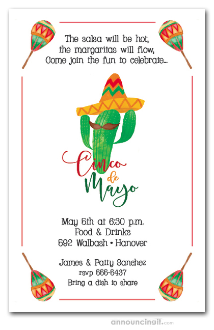 Mustached Cactus Cinco de Mayo Party Invitations