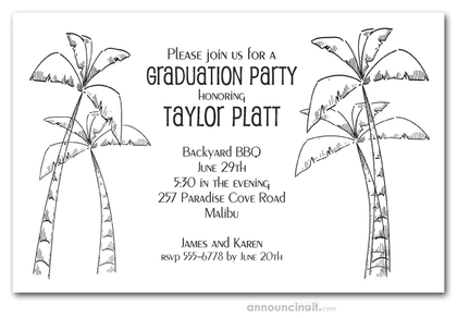 Newport Chic Palm Trees Graduation Party Invitations