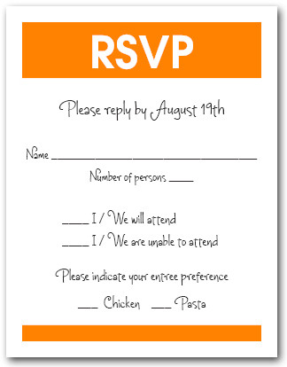 White & Orange RSVP Card #3