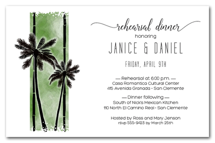 Palms on Green Party Invitations
