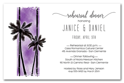 Palms on Purple Party Invitations