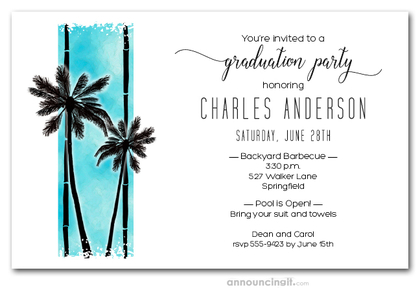 Palms on Turquoise Graduation Party Invitations