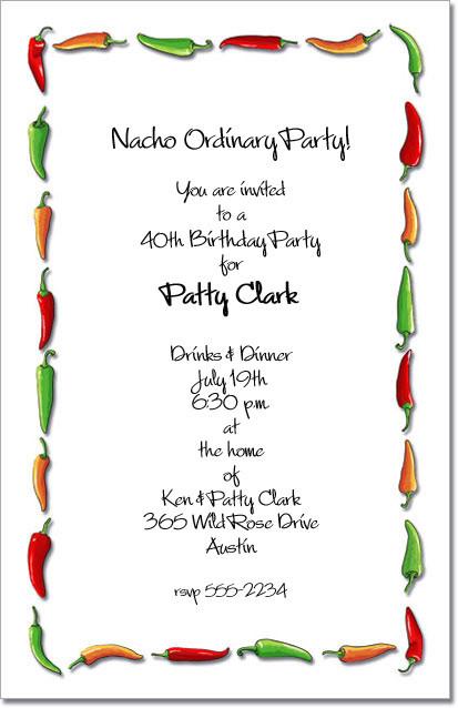 Chili Pepper Border Invitations Cinco De Mayo Mexican