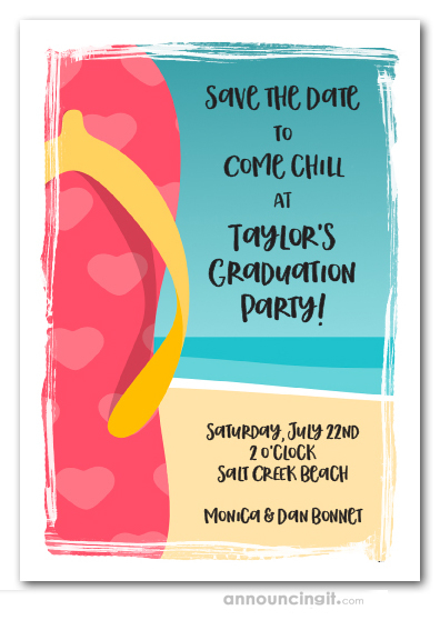 PInk Flip Flops Graduation Save the Date