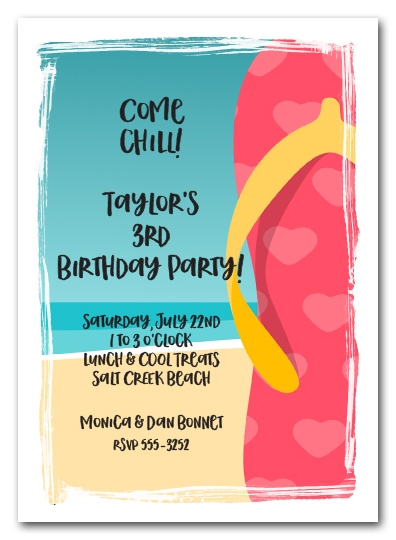 Pink Hearts Flip Flops Beach Party Invitations
