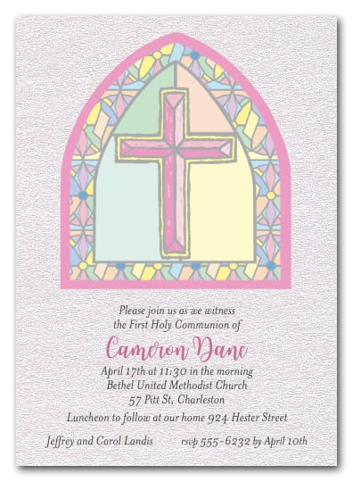 Shimmery Pink Stained Glass Window Religious Invitations