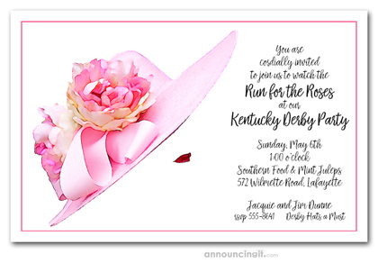 Floral Pink Derby Hat Invitations