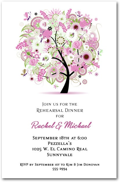 Pink Floral Tree Party Invitations