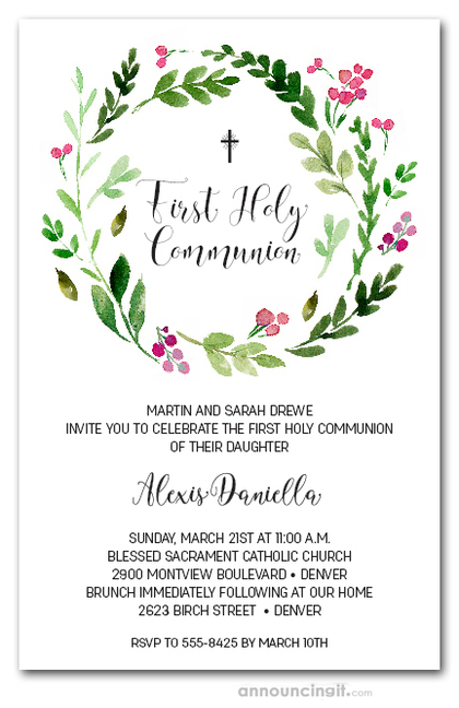 Pink Bud Wreath Communion Invitations