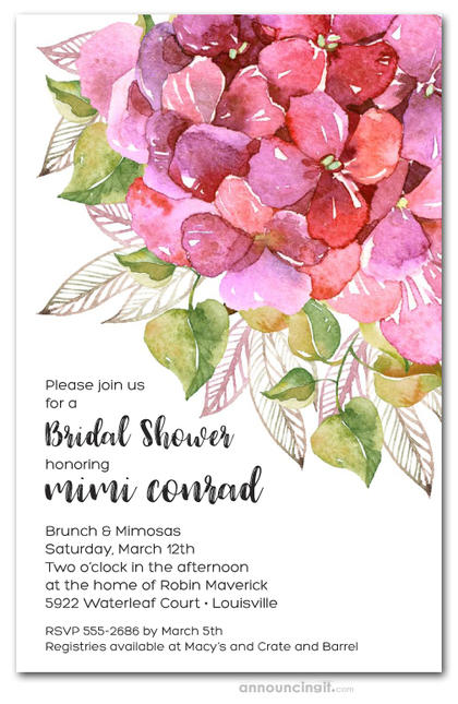 Pink Hydrangea Bridal Shower Invitations
