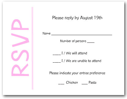 Pink on White RSVP Cards #6