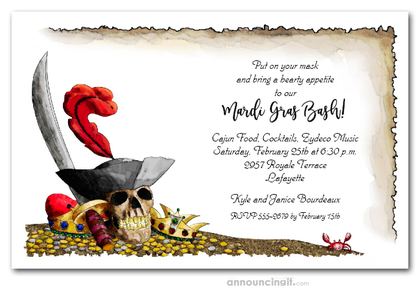 Pirate's Gold Mardi Gras Invitations