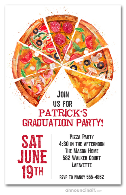 Pizza Pie Slices Graduation Party Invitations