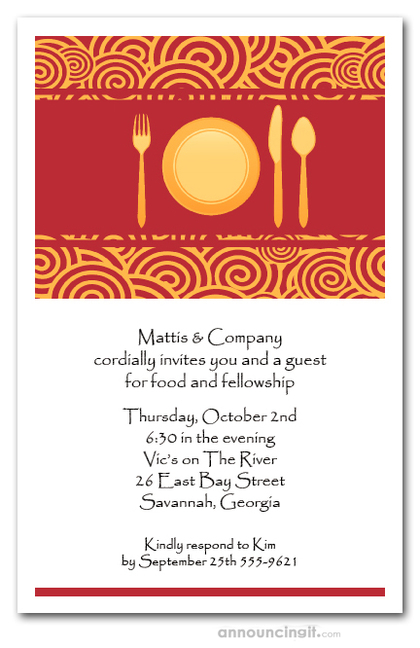 Place Setting on Red and Gold Curls Invitations