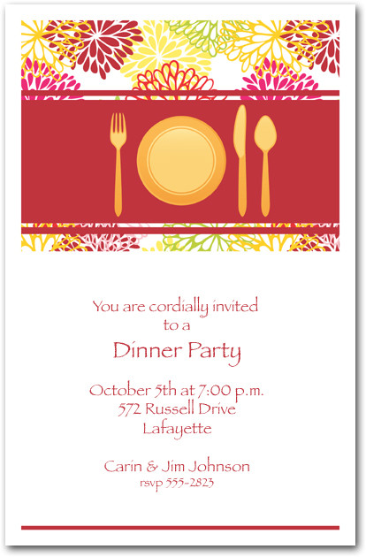 Place Setting On Floral Blooms Dinner Party Invitations