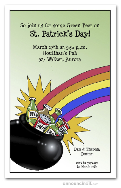 Pot of Beer St. Patrick's Day Invitations
