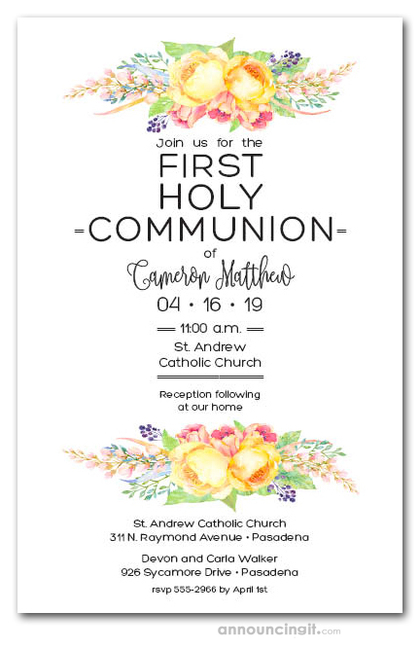 Precious Yellow Floral First Communion