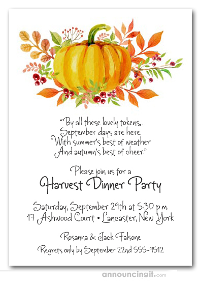 pumpkin and berries fall party invitations