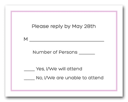 Cotton Candy Pink Border RSVP Cards #8