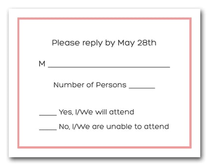 Light Coral Border RSVP Cards #8