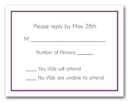 Plum Border RSVP Cards #8