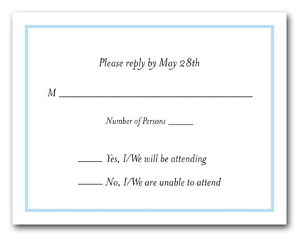 Sky Blue Border RSVP Card #8