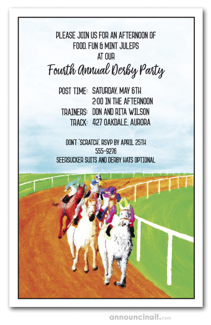 Race is On Horse Racing Invitations