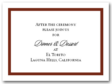 Reception Card Brown Border #5