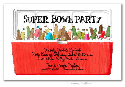 Red Ice Chest Super Bowl Invitations
