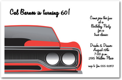 Red Muscle Car Party Invitations