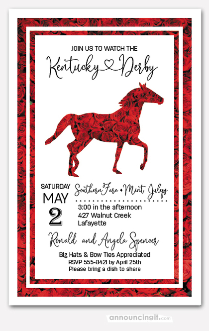 Red Roses Race Horse Derby Invitations