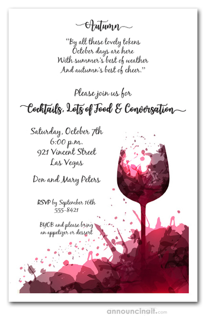 Fall Red Wine Glass Splash Invitations