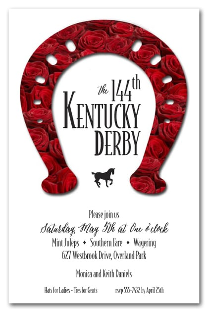 rose covered horseshoe kentucky derby party invitations