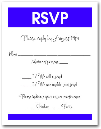 White & Royal Blue RSVP Card #3