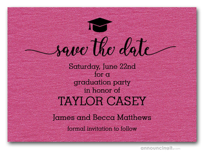 Grad Hat on Shimmery Hot Pink Save the Date Cards