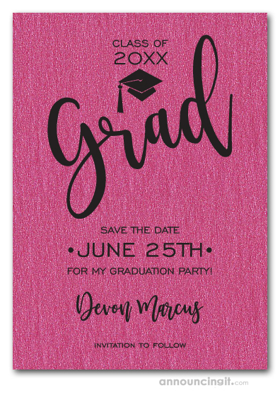 Simple Grad Shimmery Hot Pink Save the Date Cards