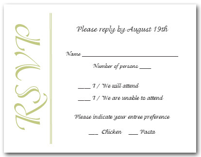Celery on White RSVP Cards #6