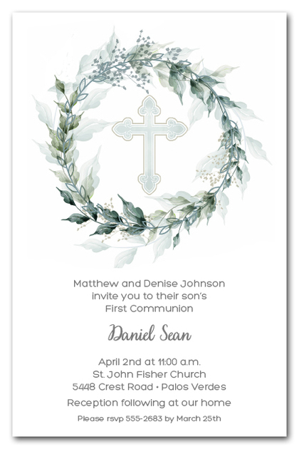 Sage Wreath Blue Cross Invitations