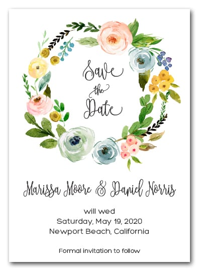 Bella Floral Wreath Save the Date