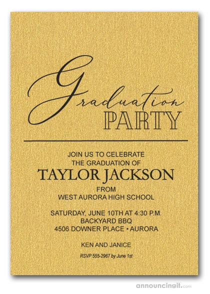 Script Shimmery Gold Graduation Invitations