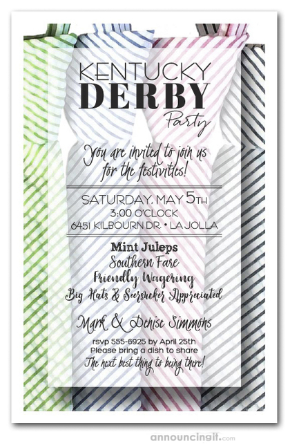 Seersucker Ties Kentucky Derby Party Invitations