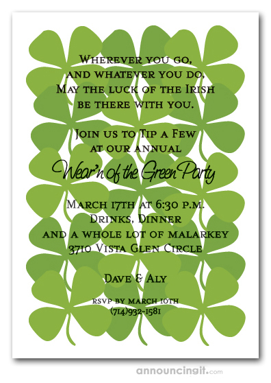 Shamrock Collage St. Patrick's Day Invitations