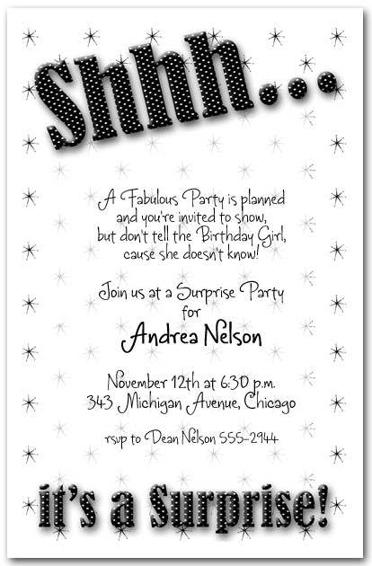 Shhh Black Polka Dot Party Invitations